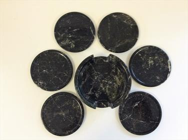Coaster Set Black Marble sourced by fossils4sale Stone Treasures