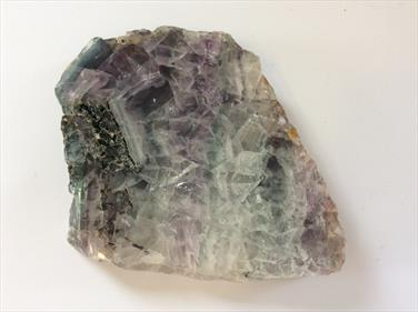 Fluorite Polished Green & Purple Slice from China. 356g 9cm x 9cm x 2cm approx. Stone Treasures Fossils4sale