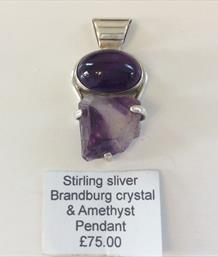 Branburg crystal & Amethyst Pendant Sterling Silver setting. Approx 4cm long Stone Treasures Fossils4sale